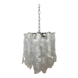 Italian White and Transparent Murano Glass Chrome Metal Frame Sputnik Chandelier For Sale