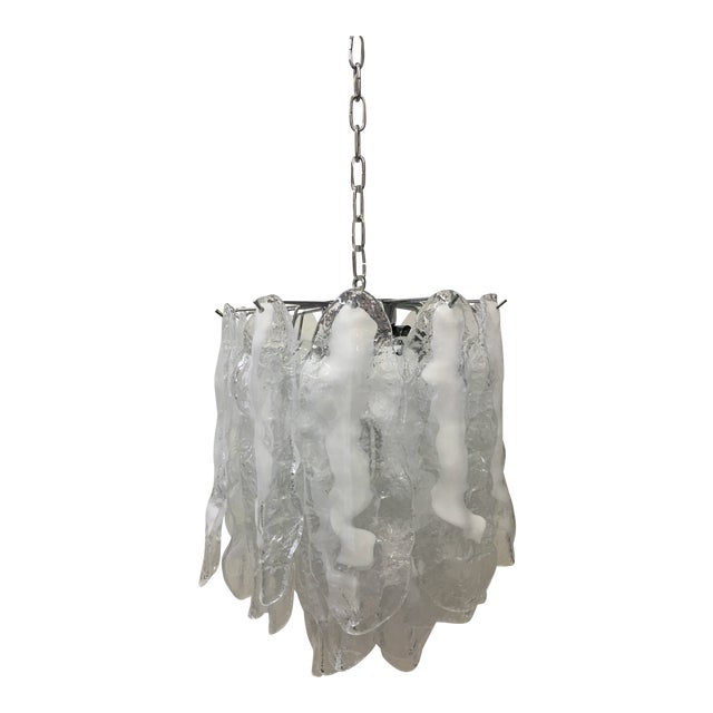 Italian White and Transparent Murano Glass Chrome Metal Frame Sputnik Chandelier For Sale