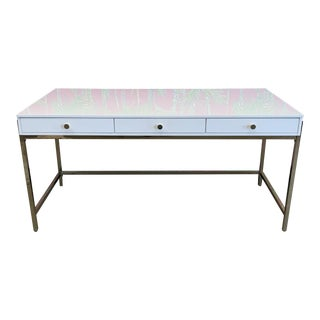 White Lacquer and Brass Desk For Sale