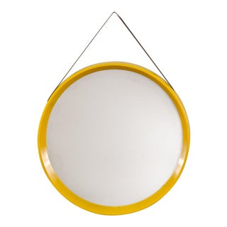 Danish Modern Yellow Circular Wall Mirror For Sale