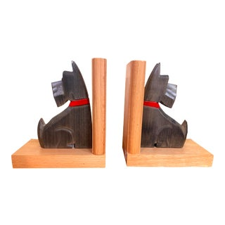 Antique German Black Forest Scottie Dog Carved and Painted Wood Bookends - a Pair For Sale