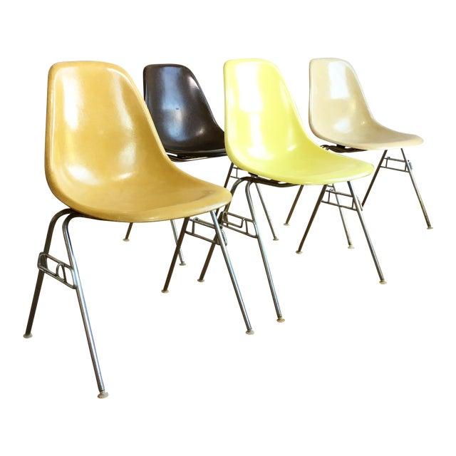 vintage herman miller eames fiberglass shell chairs set of 4 chairish