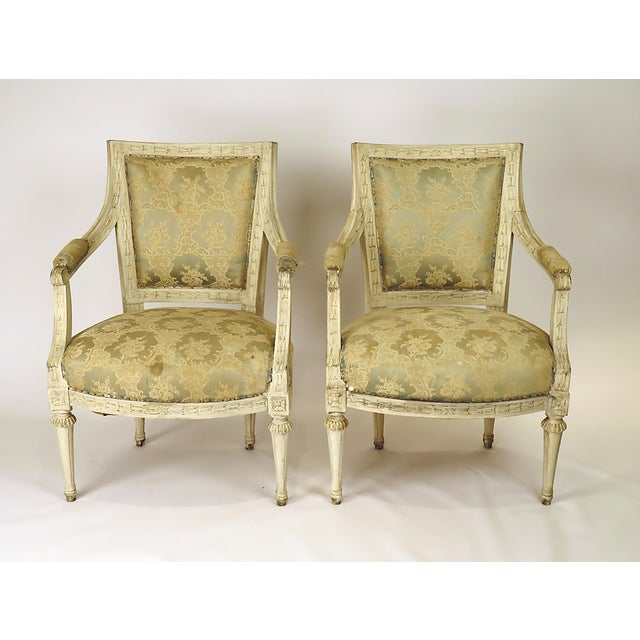 Mid-Century Modern 1900s Swedish Painted Armchairs - a Pair For Sale - Image 3 of 7