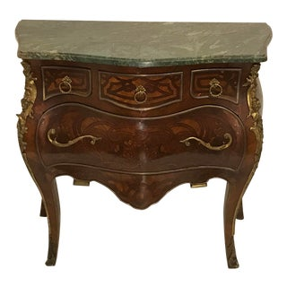1980s Vintage Louis XV Style Marble Top Inlaid Bombay Chest of Drawers For Sale
