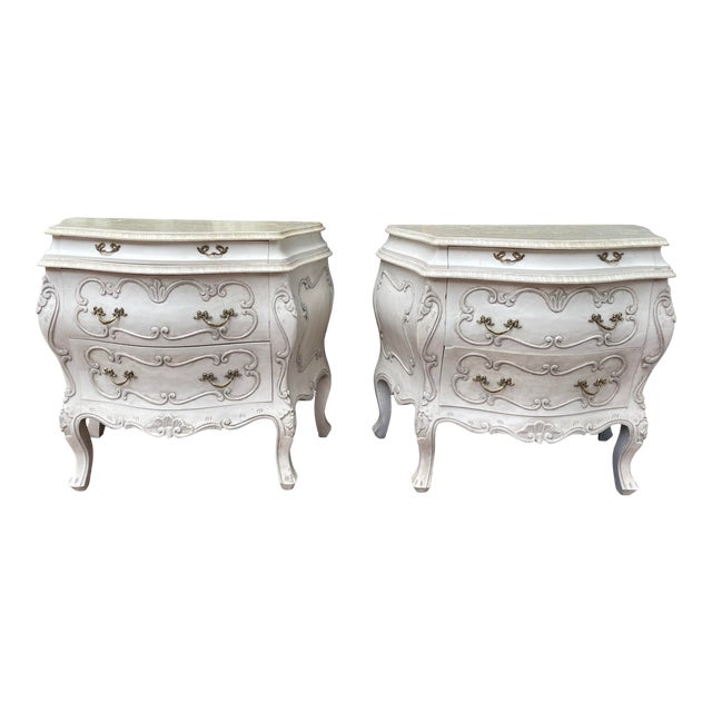 Vintage White Pine Bombay Chest of Drawers - a Pair For Sale