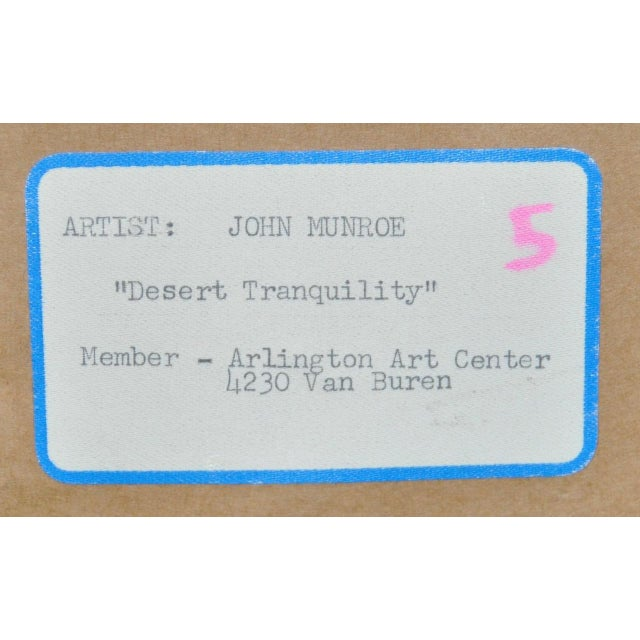 "John B. Munroe ""Desert Tranquility"" Watercolor c.1960s For Sale - Image 9 of 9"