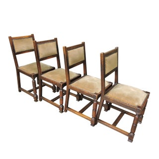 Set of 4 Antique Upholstered English Oak and Velvet Side Chairs - Late 19th Century Preview