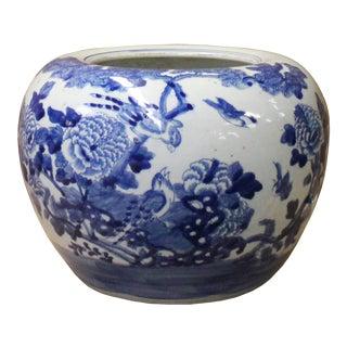Chinese Blue White Oriental Flower Birds Scenery Porcelain Pot For Sale