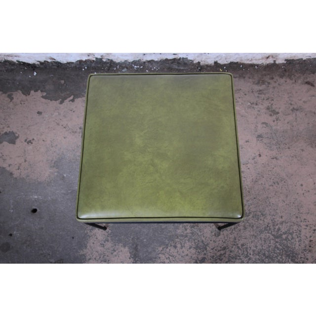 Contemporary Paul McCobb Green Vinyl Upholstered Iron Stool or Ottoman For Sale - Image 3 of 10