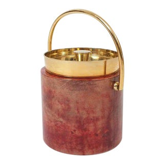 Aldo Tura Parchment Brass Ice Bucket For Sale