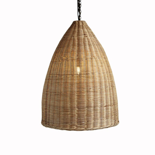 Medium Raw Rattan Pod Lantern - Image 2 of 4