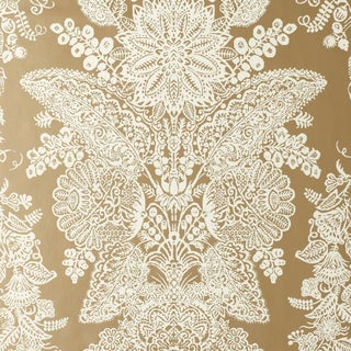 Sample - Schumacher Lace Wallpaper in Champagne For Sale