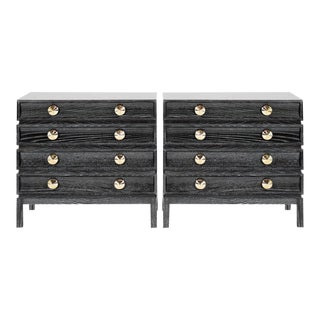 Stamford Modern's Stacked Bedside Tables in Black Ceruse - a Pair For Sale