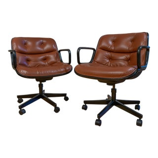 1960s Vintage Charles Pollack Executive Chairs for Knoll- A Pair For Sale