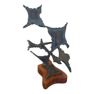 1970s Brutalist Abstract Wrought Iron Sculpture For Sale