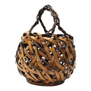 Japanese Bamboo Ikebana Flower Basket For Sale