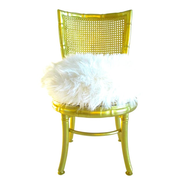 Gold Faux Bamboo & Fur Swivel Chair - Image 1 of 8
