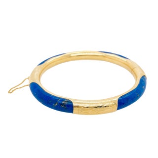 Vintage 14k Gold and Lapis Lazuli Bangle Bracelet For Sale