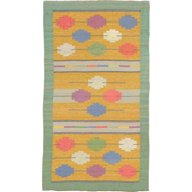 Mid 20th Century Swedish Flat Weave Rug- 4′1″ × 7′4″ For Sale