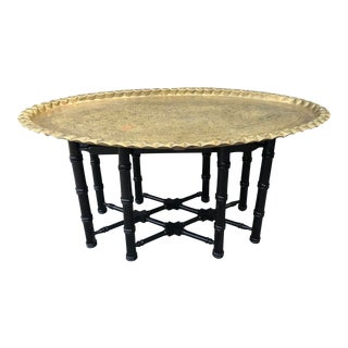 Vintage Brass Turkish Tray Table With Black Faux Bamboo Base For Sale
