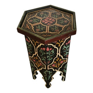 Painted Moroccan Wood Handcrafted Side Table For Sale