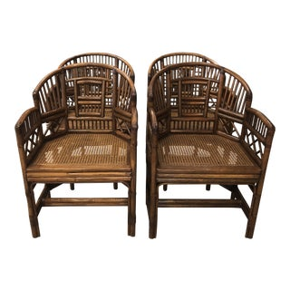 Vintage Brighton Style Chinese Chippendale Rattan Arm Dining Chairs -Set of 4 For Sale