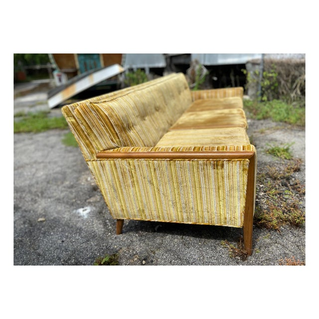 Mid-Century Modern Yellow Striped Variegated Velvet Sofa For Sale - Image 9 of 13