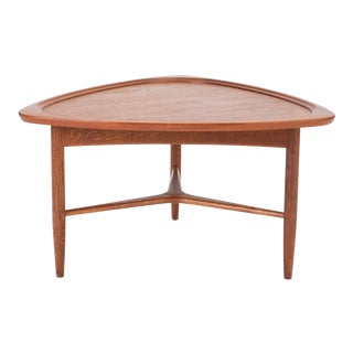 "Scandinavian Modern Teak ""Guitar Pick"" Side Table For Sale"