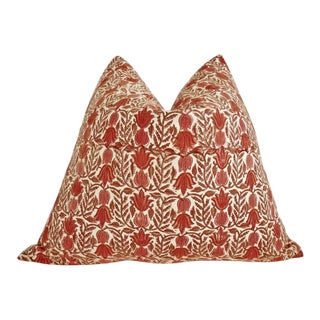 Traditional Organic Hand-Block Cotton & Linen Pillow For Sale