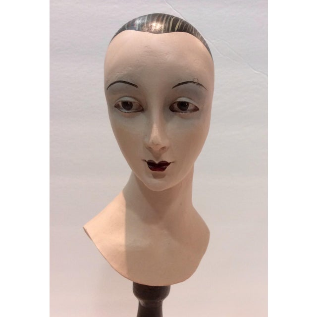Plaster Mime Bust on Stand - Image 3 of 6