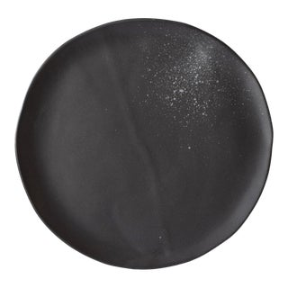 "Contemporary Handmade Black ""Splatter"" 10"" Dinner Plate by FisheyeCeramics For Sale"