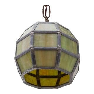 Olive Green Slag Glass Arts & Crafts Mission Hanging Light For Sale