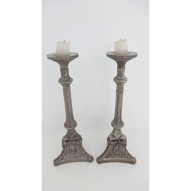 Tall Silverplate Candlesticks - A Pair - Image 3 of 8