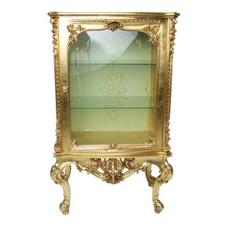 Antique French Belle Epoque Louis XVI Gilded Vitrine For Sale