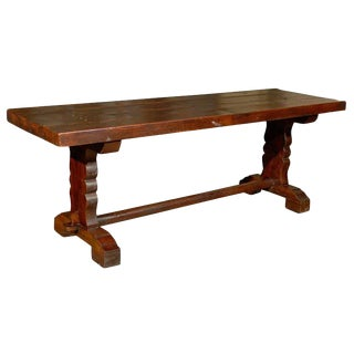 French Wood 19th Century Library/Desk Trestle Table of Deep Warm Brown Color For Sale