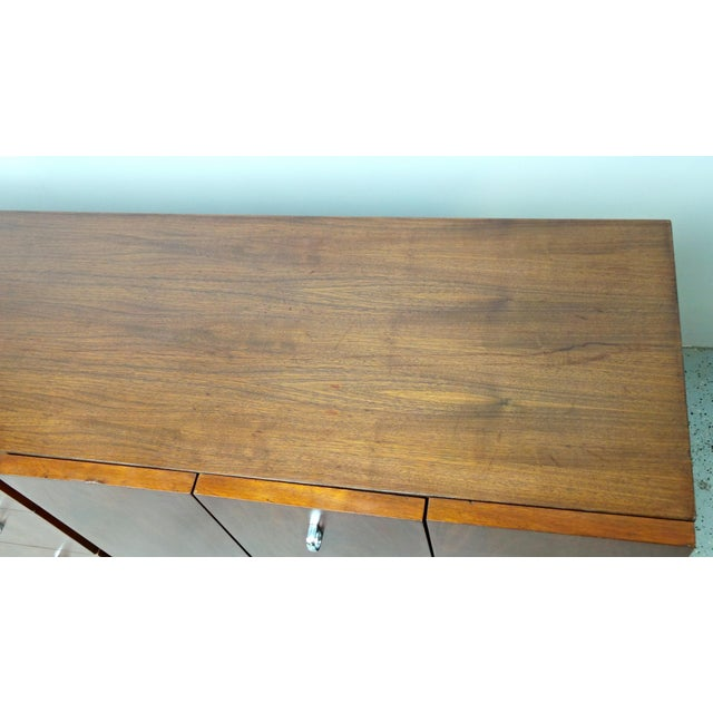 American of Martinsville Mid-Century Walnut & Chrome Dresser - Image 7 of 10