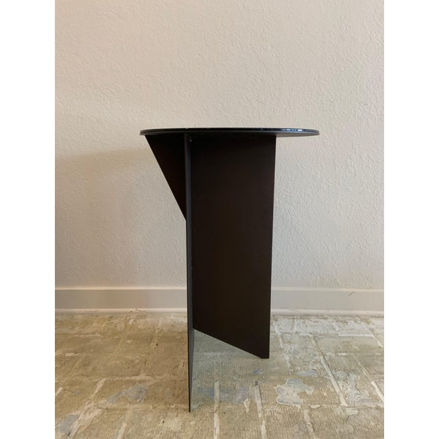 Contemporary Black Iron and Glass Side Table For Sale - Image 4 of 4