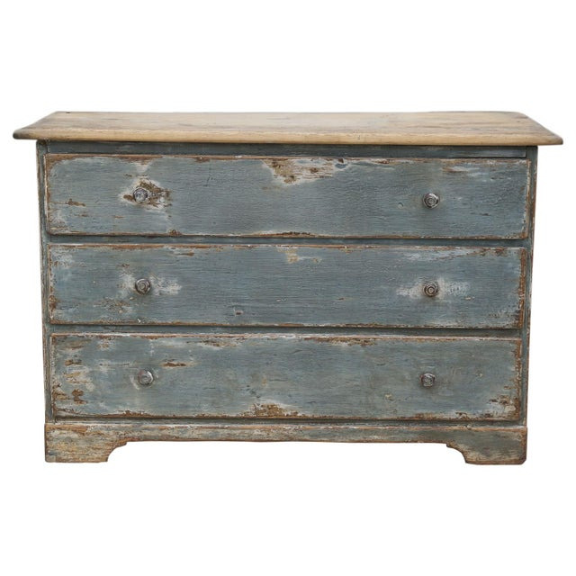 19th Century Swedish Painted Three-Drawer Commode with Scrubbed Top.