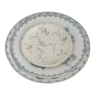 Vintage Blue Floral China Plates - Set of 3