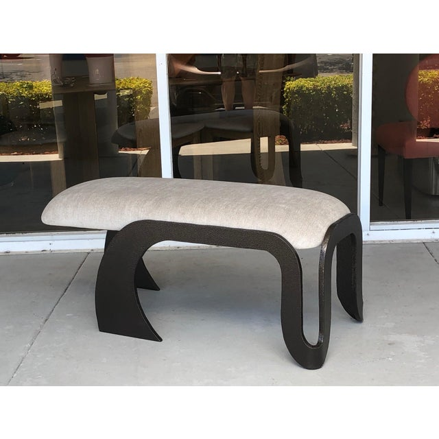 Pair of Abstract Modern Heavy Bronze Enamel Benches Ottomans, 1980s For Sale In Miami - Image 6 of 13