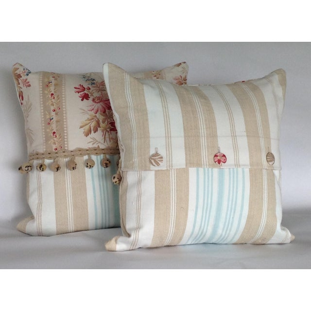 French 19th Century French Floral & Linen Ticking Stripe Pillows With Pom-Poms - a Pair For Sale - Image 3 of 7