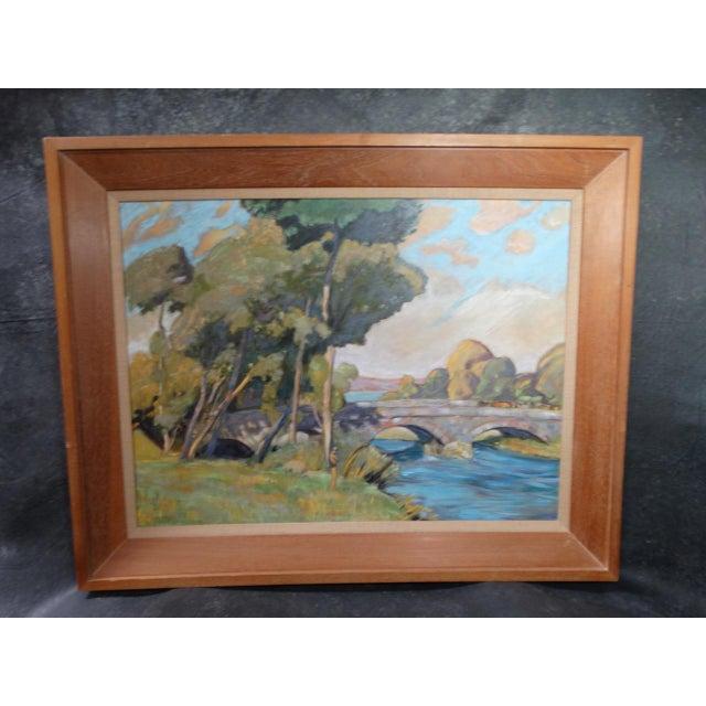 1930s Dan Burgess Landscape Painting With Bridge For Sale - Image 10 of 11