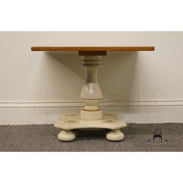 """Wood Ethan Allen Hitchcock Style White Stenciled 20"""" End / Accent Table For Sale - Image 7 of 13"""