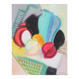 Abstracted Modernist Still Life in Watercolor, 1942 For Sale