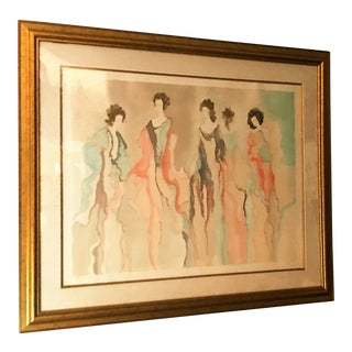 """Original Signed Watercolor Print Titled """"Prim Tempo"""" by Jane Bazinet For Sale"""
