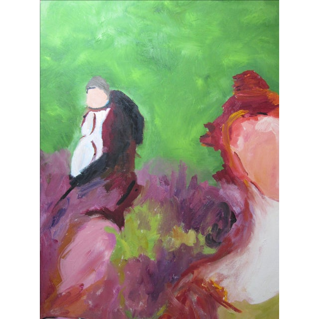 """""""Faceless Revelers"""" Oil on Canvas Painting - Image 5 of 6"""