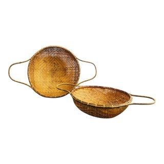 Pair of Round Basket Trays With Handles For Sale