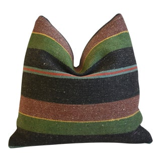 """Summer Beach Boho-Chic Striped Turkish Carpet Feather/Down Pillow 18"""" Square For Sale"""