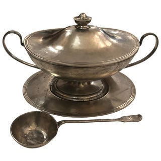 Handsome Arte Italica Pewter Soup Tureen and Ladle For Sale