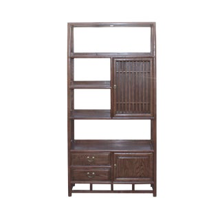 Chinese Elm Wood Brown Open Display Bookcase Cabinet For Sale